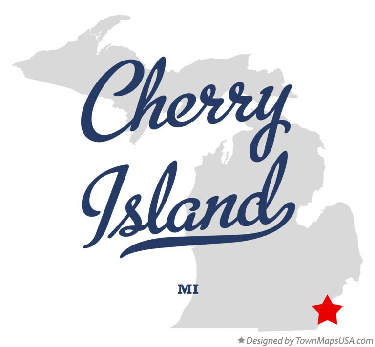 Map of Cherry Island Michigan MI