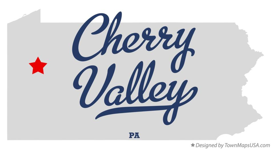 Map of Cherry Valley Pennsylvania PA