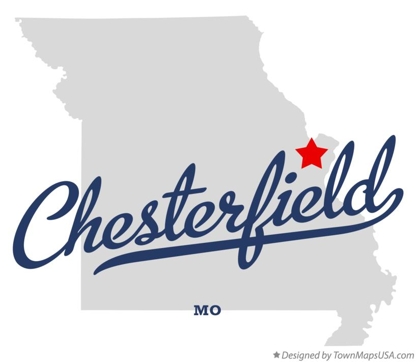 Map of Chesterfield Missouri MO