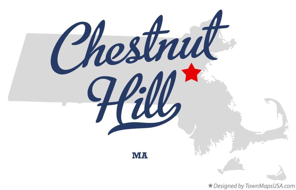 Map of Chestnut Hill, MA, Massachusetts