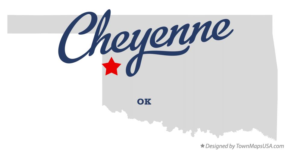 Map of Cheyenne Oklahoma OK