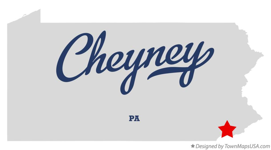 Map of Cheyney Pennsylvania PA