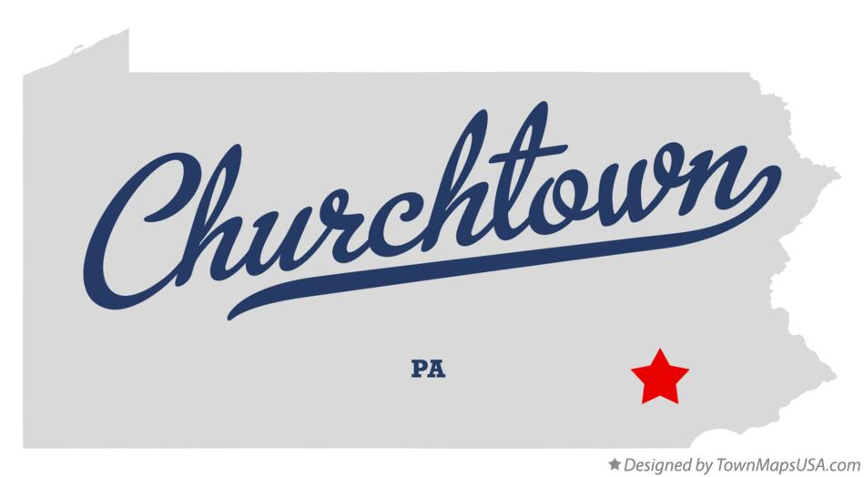 Map of Churchtown Pennsylvania PA
