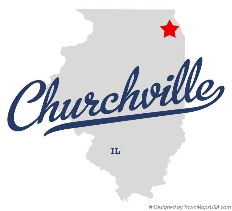 Map of Churchville Illinois IL