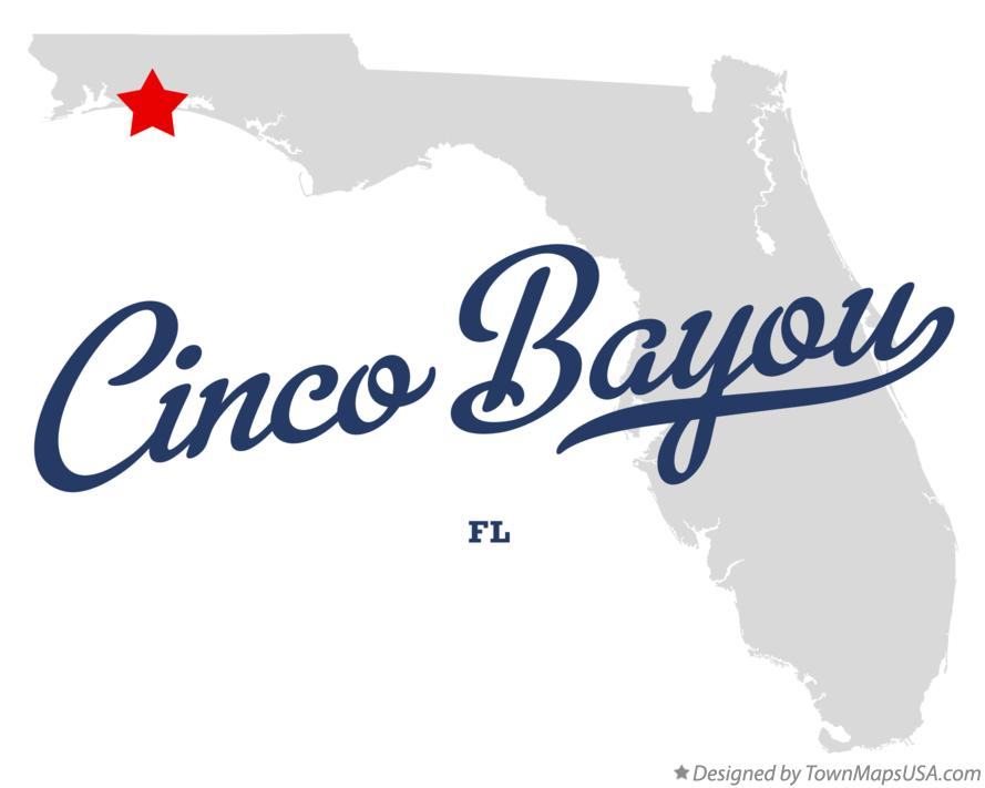 Map of Cinco Bayou Florida FL