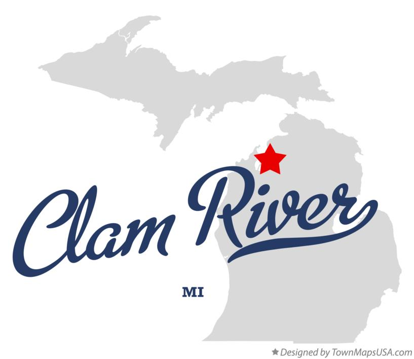 Map of Clam River Michigan MI