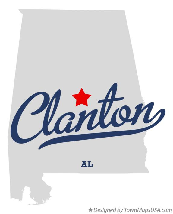 Map of Clanton Alabama AL