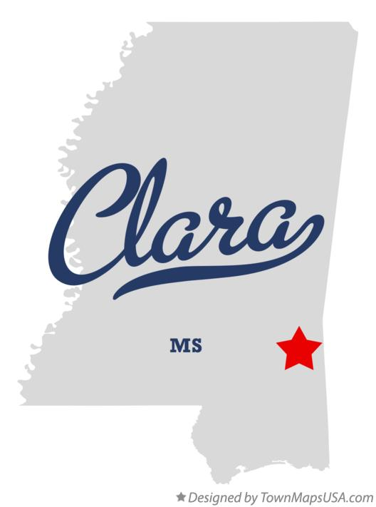 Map of Clara Mississippi MS