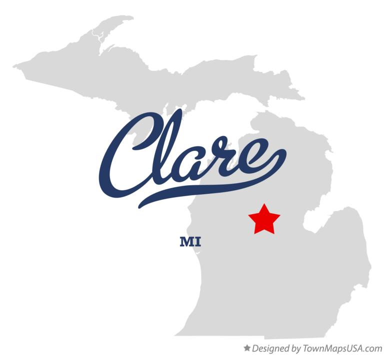 Map of Clare, MI, Michigan