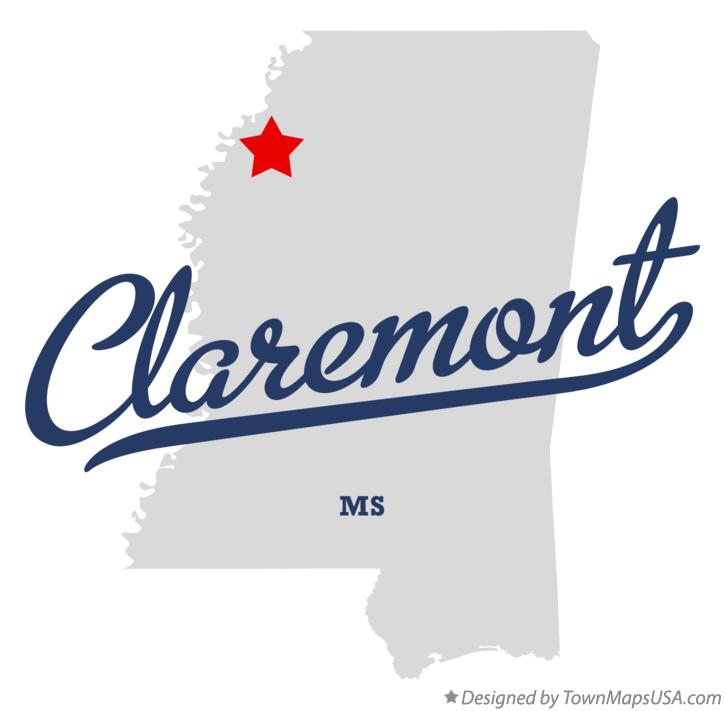 Map of Claremont Mississippi MS