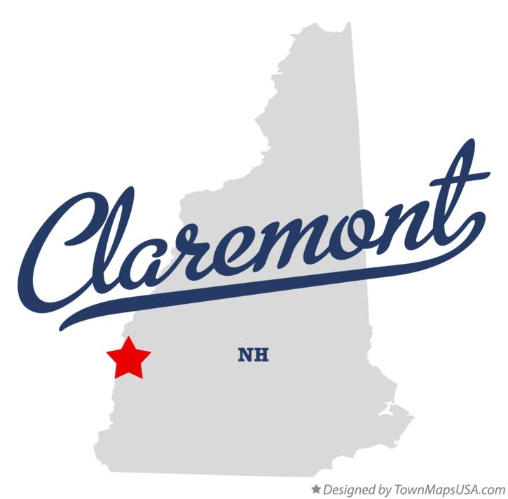Map of Claremont New Hampshire NH