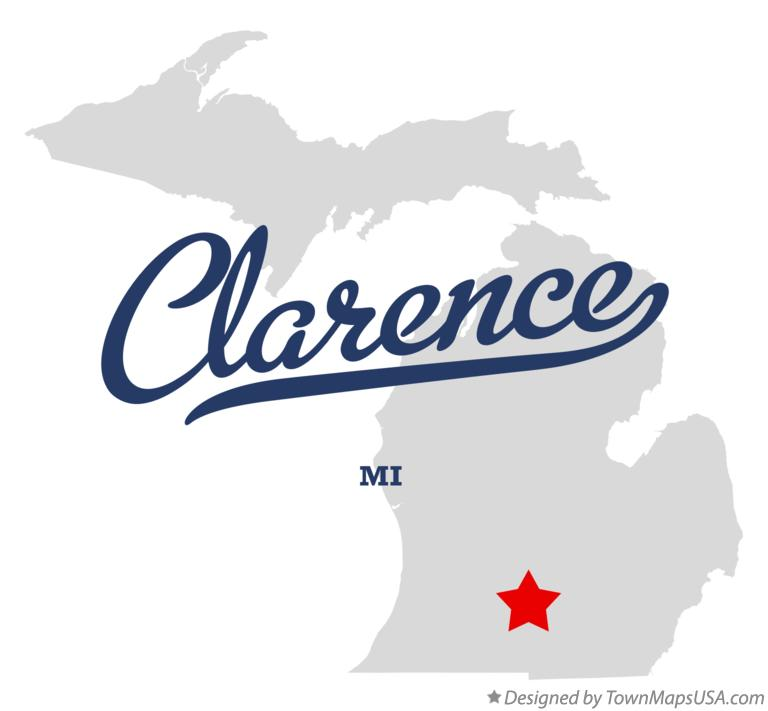 Map of Clarence Michigan MI