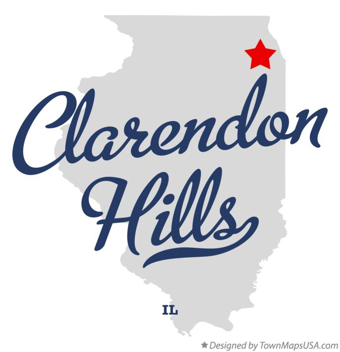 Map of Clarendon Hills Illinois IL