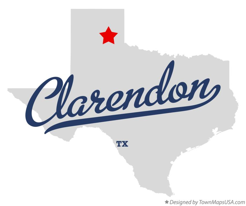 Map of Clarendon Texas TX