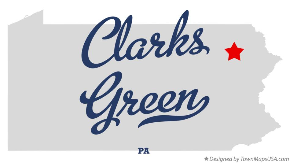 Map of Clarks Green Pennsylvania PA