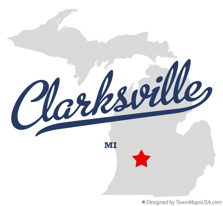 Map of Clarksville Michigan MI