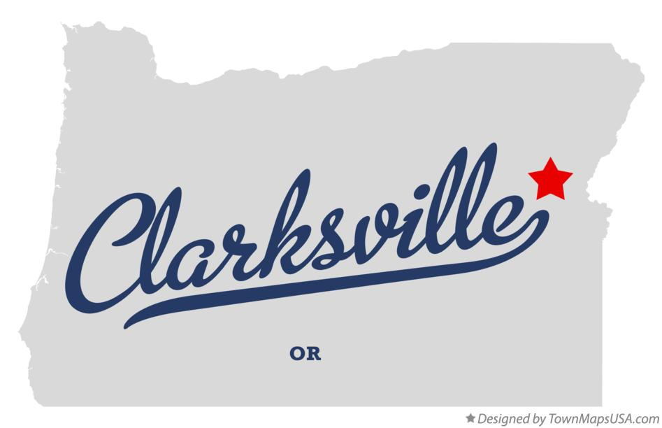 Map of Clarksville Oregon OR
