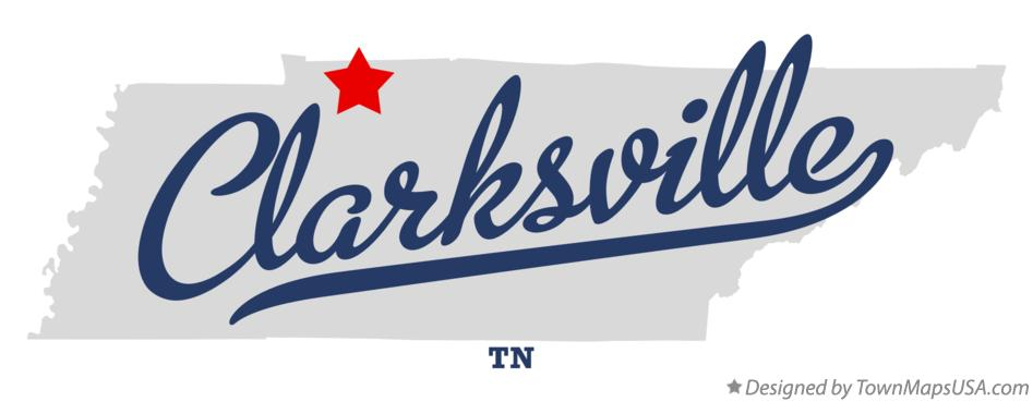 Map of Clarksville Tennessee TN