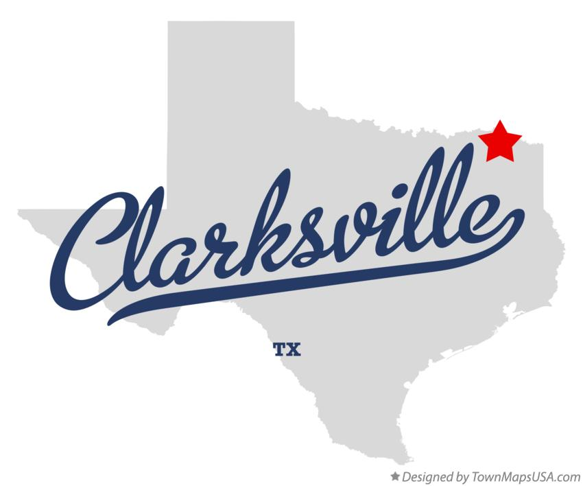 Map of Clarksville Texas TX