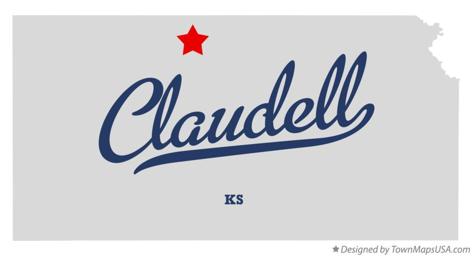 Map of Claudell Kansas KS