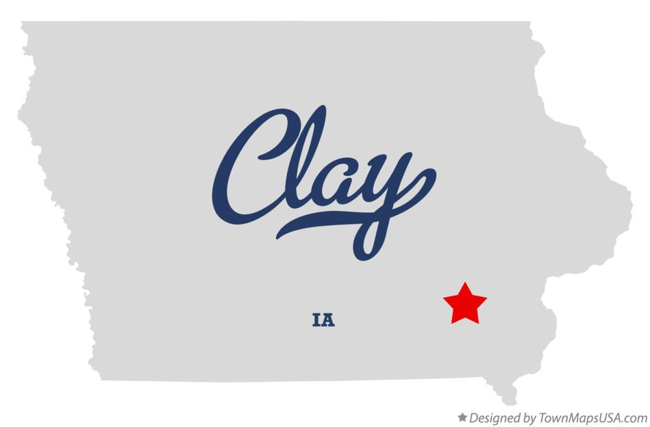 Map of Clay Iowa IA