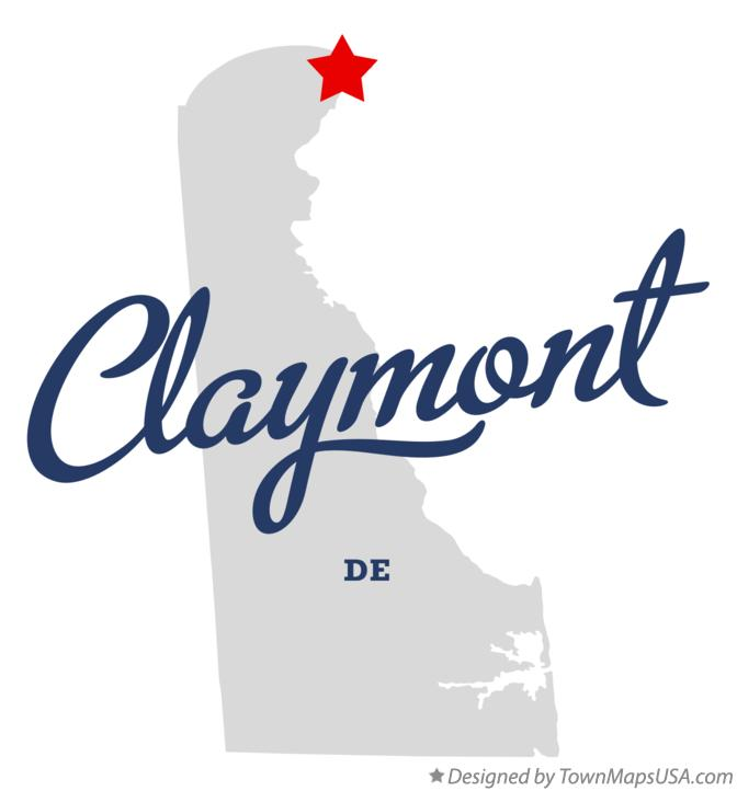 Map of Claymont Delaware DE