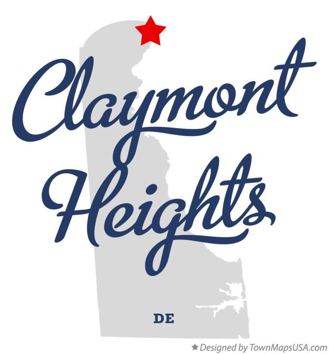 Map of Claymont Heights Delaware DE