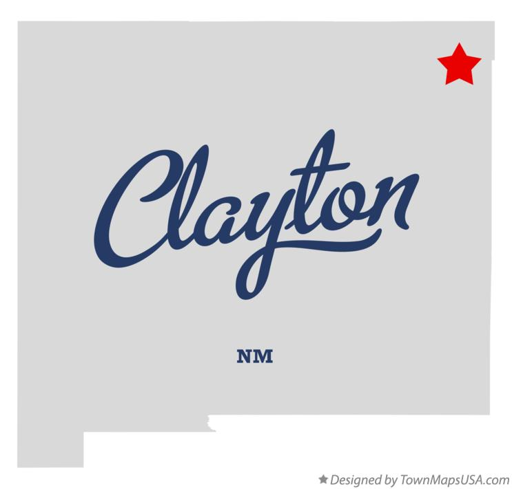 Map of Clayton New Mexico NM