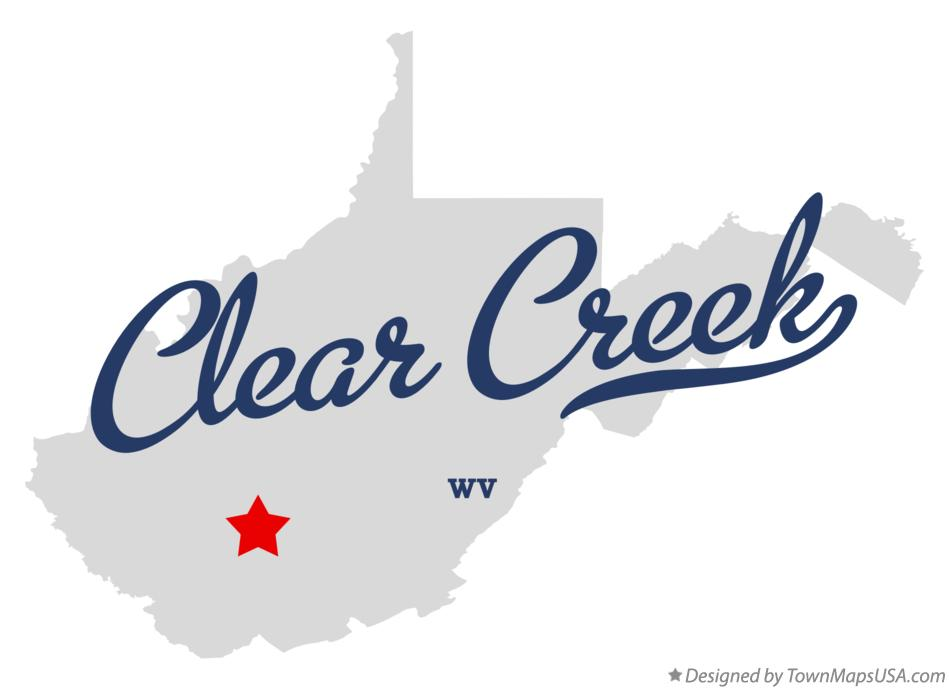 Map of Clear Creek West Virginia WV