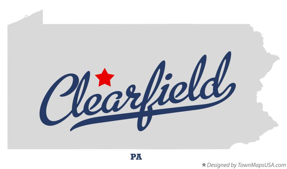 Map of Clearfield Pennsylvania PA