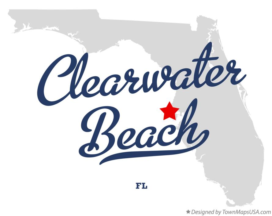 Map of Clearwater Beach Florida FL