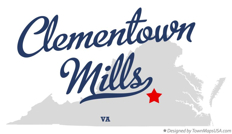 Map of Clementown Mills Virginia VA
