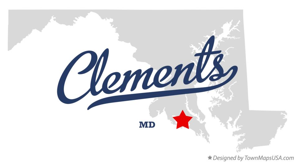 Map of Clements Maryland MD