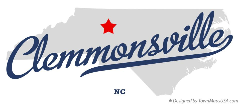 Map of Clemmonsville North Carolina NC