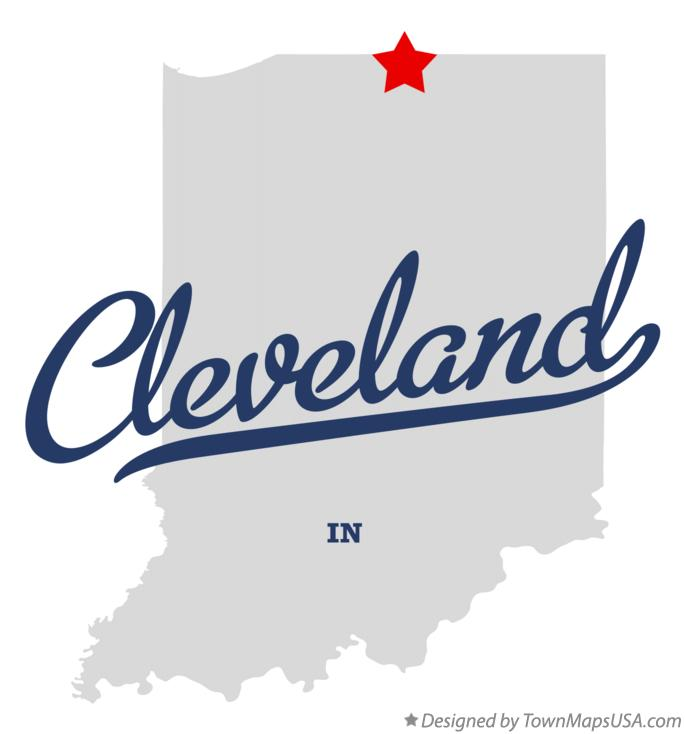 Map of Cleveland Indiana IN