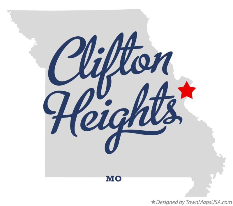 Map of Clifton Heights Missouri MO
