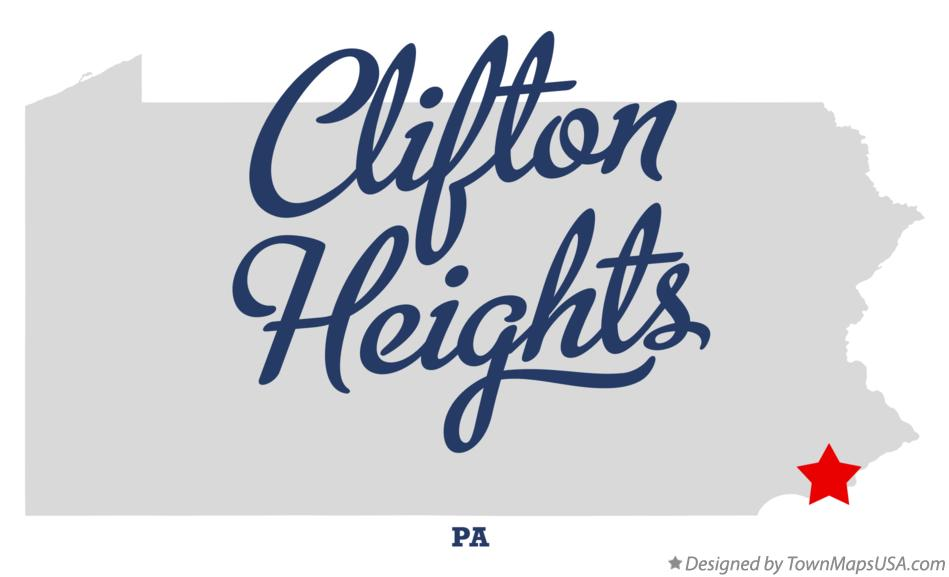 Map of Clifton Heights Pennsylvania PA
