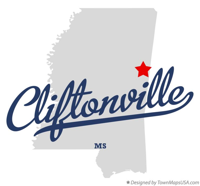 Map of Cliftonville Mississippi MS