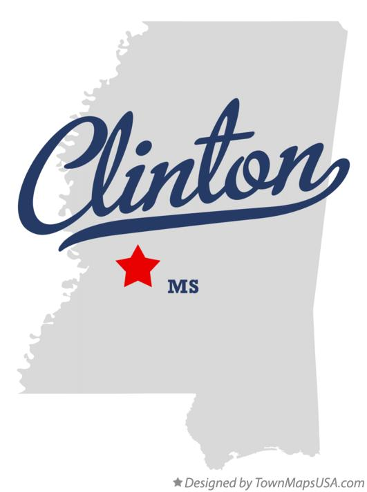 Map of Clinton Mississippi MS