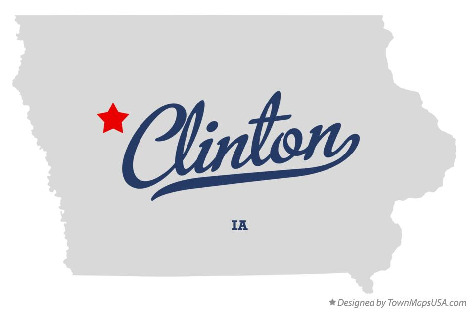 Map of Clinton Iowa IA