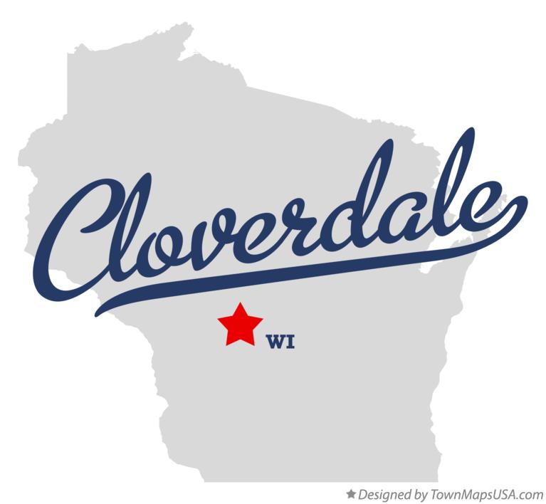 Map of Cloverdale Wisconsin WI