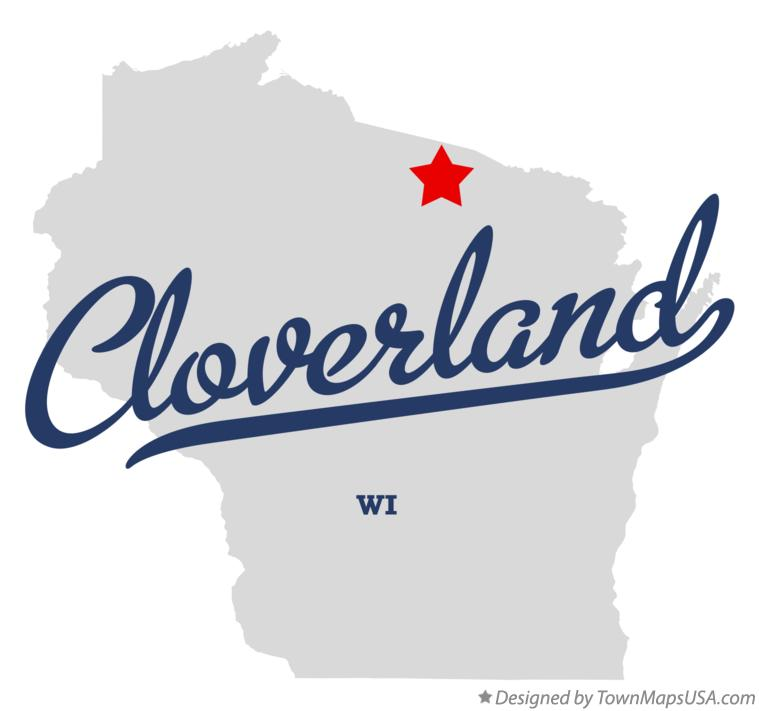 Map of Cloverland Wisconsin WI
