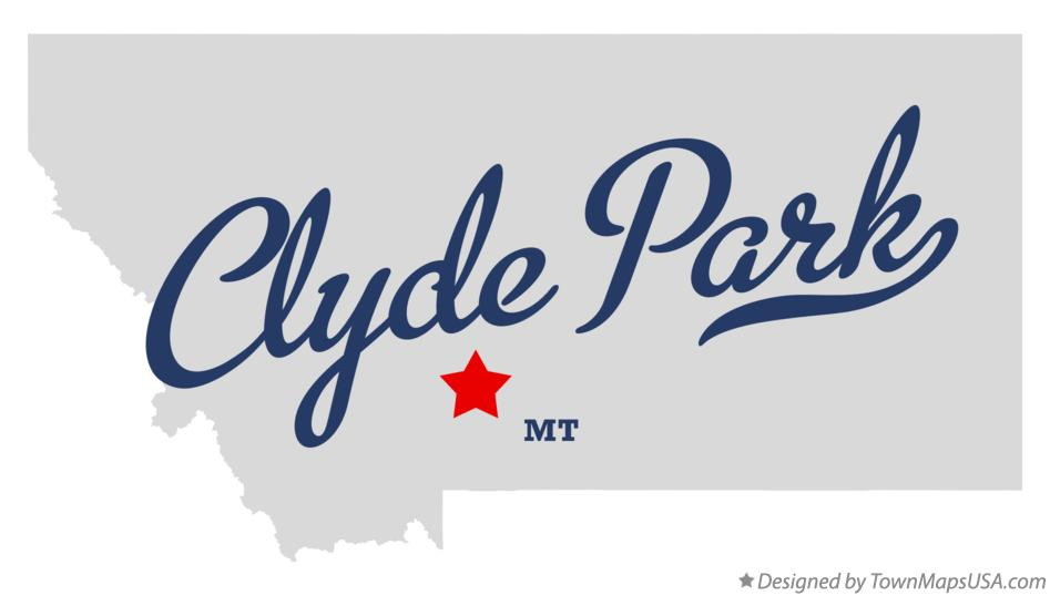 Map of Clyde Park Montana MT