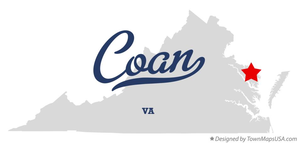 Map of Coan Virginia VA