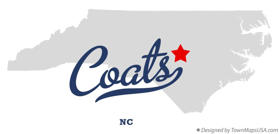 Map of Coats North Carolina NC
