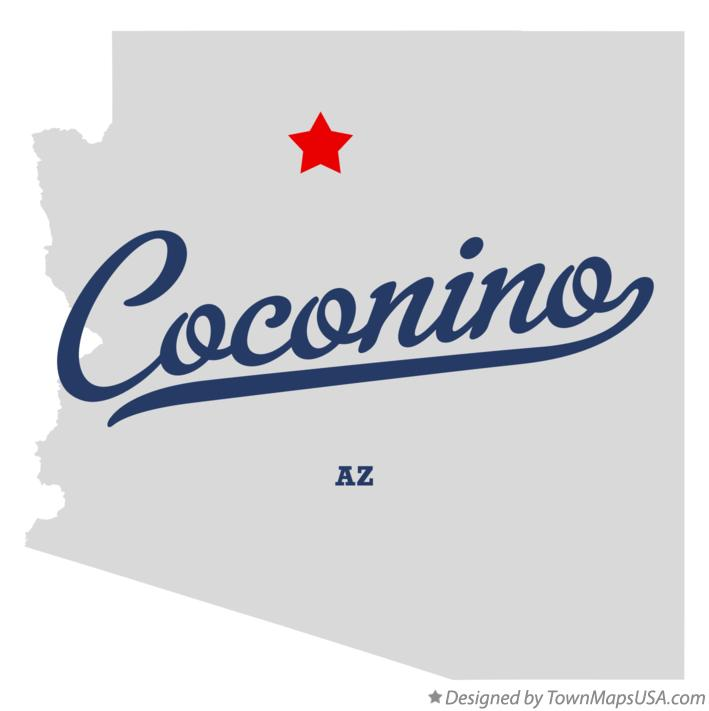 Map of Coconino Arizona AZ