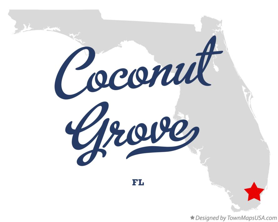 Map of Coconut Grove Florida FL