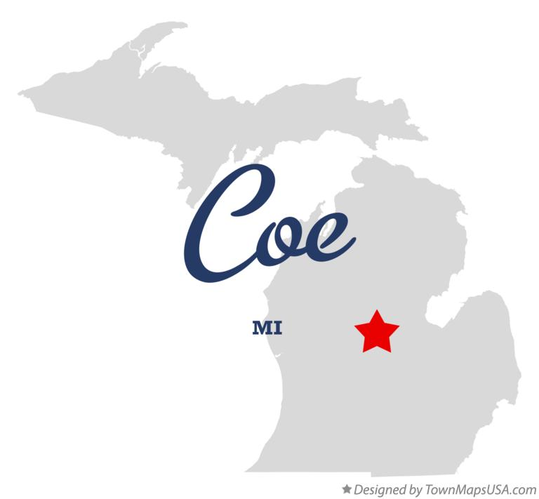 Map of Coe Michigan MI