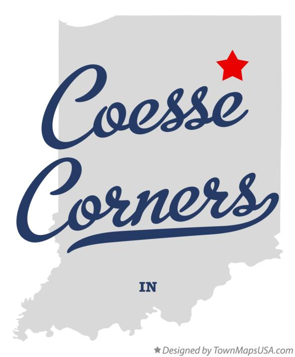 Map of Coesse Corners Indiana IN