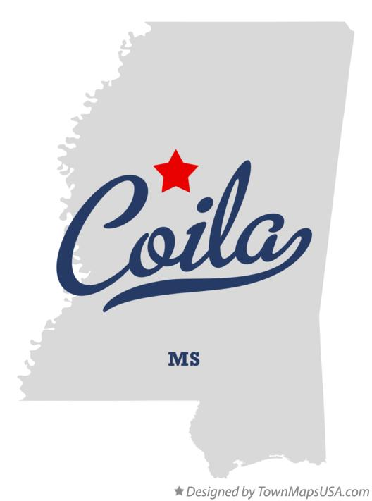 Map of Coila Mississippi MS